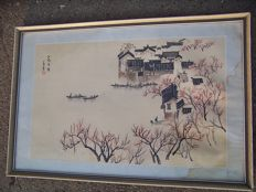 Asian landscape painting marked, wooden frame - China - second half 20th century
