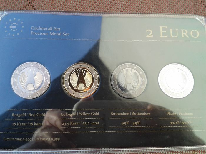 Germany - Set 4 x 2 Euro 2011 German Federal Eagle Precious Metal (plated)