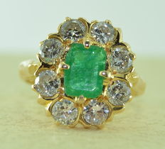 Gold ring set with a 2.40 ct emerald and 8 diamonds, 1.60 ct in total *** NO RESERVE ***