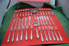 lot of 40 pieces in 800 silver dessert set and for fish, all in good condition