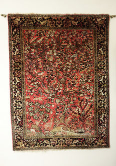 Quom PURE Silk Tree of Life RUG Mid 20th Century ZARONIM  148 x115cm