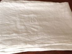 Heavy hand-sewn linen double bed sheet - Florence - 1940s