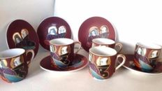 5 Japanese cups and saucers with Japanese head as watermark