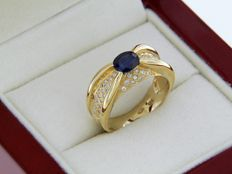 Yellow gold cocktail ring - Sapphire of 0.90 ct - Diamonds of 0.35 ct.