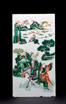 Famille Verte Plaque - China -  19th Century.