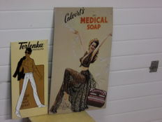 2 advertising signs for Calverts Medical Soap, Terlenka Trousers - 2nd half of the 20th century