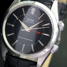 TUDOR Advisor Alarm Big Rose Winding Steel Mens Wrist Watch
