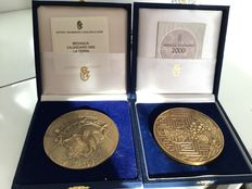 Pair of bronze calendar medals