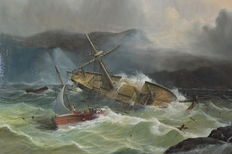 Robert Moore (1905-1963) - The rescue of the crew of a shipwreck by lifeboat - large piece
