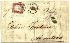 40 cent from 1863, on letter with framing thread # 12 of the sheet.