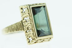 14 kt gold ring set with tourmaline, sturdy edition, ring size 17.75
