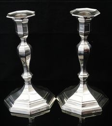 Pair of Large Silver Candlesticks, Sheffield 1912