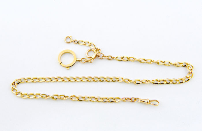 Exclusive fob. End 18 kt gold chain for pocket watch. 39 g