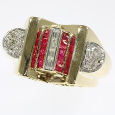 Unisex fifties diamond and ruby red gold retro ring - 1950