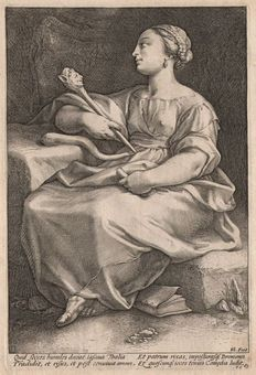 Hendrick Goltzius (1558-1617) -  De muse Thalia - Engraved by Goltzius himself -  1592