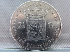 The Netherlands, 2½ guilder coin, 1849, William II of the Netherlands, silver
