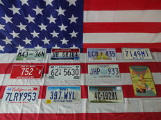 Nice set of 10 American license plates - M4336N - 752TV - 7LRY953 - 8BGR704 - 62TR5630 - 397WTL - LC8435 - JHP933 - 4C19291 - 7149M1