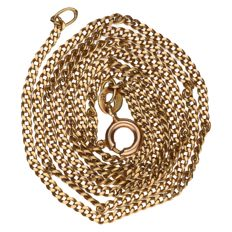 14 kt yellow gold curb link necklace - 49 cm