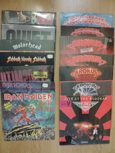 14 Hard Rock vinyl albums + 1 maxi single from various famous 80's bands - Top condition