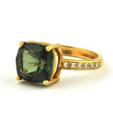 Smoked Green Citrine & 12 Diamonds +/-0.12ct set on 18k Yellow Gold Ring - 54(EU) *Re-sizable