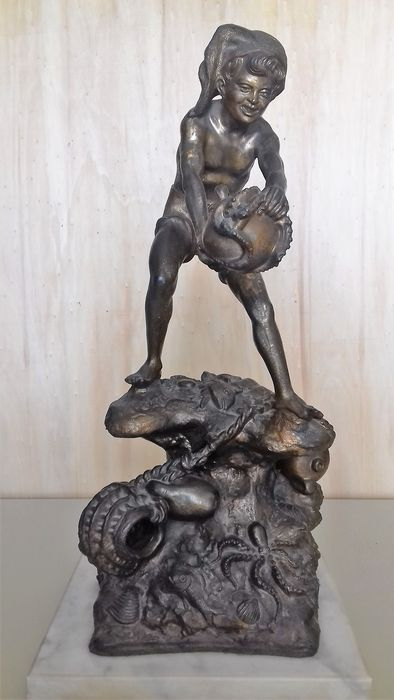 Antique antimony sculpture - first half of the 20th century