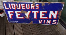 Old enamel sign from 1957: Distillerie Feyten Liqueurs et Vines Malinnes