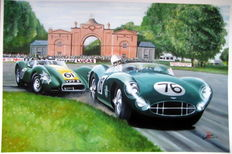 Fine Art : Stirling Moss and Archie Scott-Brown in the Aston Martin and the Lister respectively Oulton Park 1958