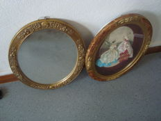 Golden Oval mirror and dressed engraving frame, 1950s, France