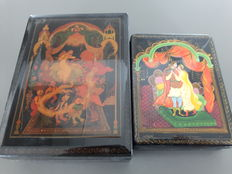 Two Russian lacquer boxes with paintings