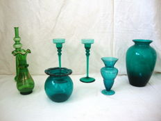 Vintage  Green Glass Lot