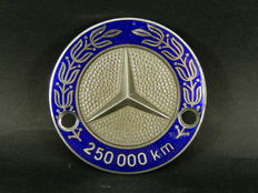 Original Vintage Mercedes Benz High Mileage Long Distance 250,000 km Enamel and Metal Car Auto Badge