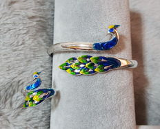 990 sterling Silver  enamelled bracelet and ring(2),approx 29 g