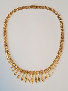 18 kt Gold Plastron Necklace in a Cleopatra Style.