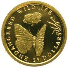 Cook Islands - 25 Dollars 1992 Butterfly - 1/25 oz - Gold