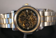 Kronen & Sohne Royal carving 'Steel Gold' - Men's wristwatch.
