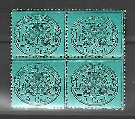 Papal States, 1868. Block of 4 stamps, 5 cents, without hinge. Sassone #25. #25.