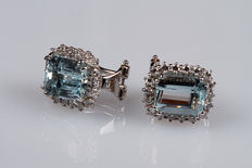 White gold earrings, with aquamarines and diamonds.