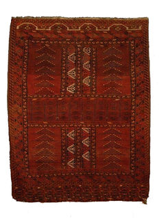 GREAT Antique Tekke Turkoman  Hatchlu/Ensi  YURT DOOR RUG 204x161cm circa 1930/40s