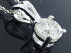 White gold solitaire pendant, set with 1 brilliant cut diamond of 0.52 ct H/P, including necklace