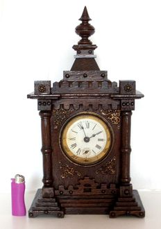 black forest French Gothic musical fortified castle melodie alarm Clock - by 1890