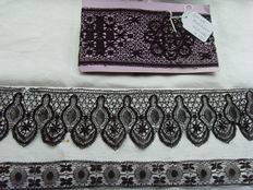 Lot of 3 strips black bobbin lace, France, circa 1900