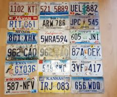 Set of 18 American license plates