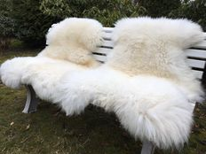 2 large, very fluffy real, natural white sheepskins / lambskins
