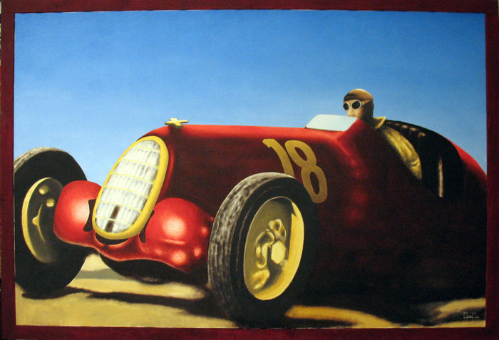 Alfa Romeo 8C 35 by Tazio Nuvolari - Oil on canvas painting with frame - year 2008