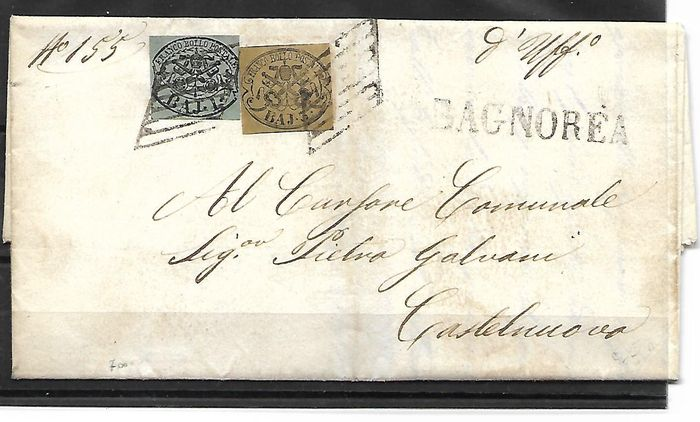 Papal States, 1852 – Complete envelope with stamps. Sassone catalogue: #2 & 4.