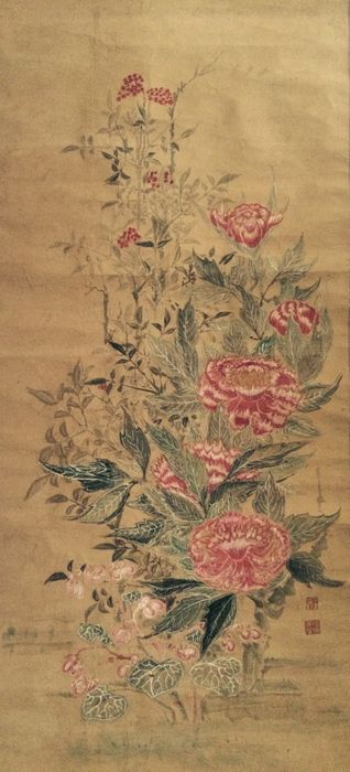 Very old and large (204 cm) detailed scroll painting of Flowers, stamped - Japan - early 19th century