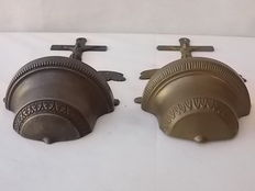 Pair of large-sized bronze holy water stoups, identical, mid-20th century