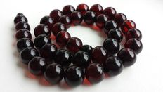 Baltic Amber necklace, dark cherry beads, 37 grams