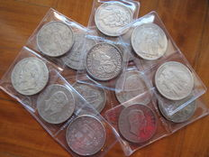 Italy, France and Belgium - 5 Lire and 5 Francs 1834-1987 (14 pieces) - silver