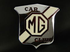 Vintage Chrome Enamel MG Car Club Car Auto Grille Badge